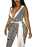 Yeshire Women's V Neck Geometric Print Skinny Bodycon Jumpsuits Rompers Long Pantsb with Belt Small Black