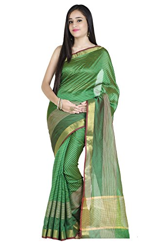 Green Silk Saree - Chandrakala Women's Green Art Silk Banarasi Saree,Free Size(1215GRE)