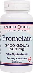 Protocol For Life Balance - Bromelain 2400 GDU/g 500 mg - Protein Digesting Enzyme - 90 Veg Capsules