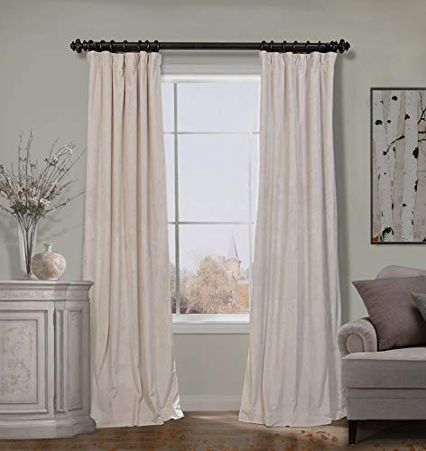 ChadMade 50W x 96L Inch Solid Matt Luxury Heavyweight Velvet Curtain Drape with Blackout Lining Flat Hook or Ring Clip Heading for Track, Ivory (1 Panel)