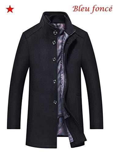 Mallimoda Homme Manteau Casual Trench Laine Classique Chic Mi-Longue Duffle-Coats Épais Parka