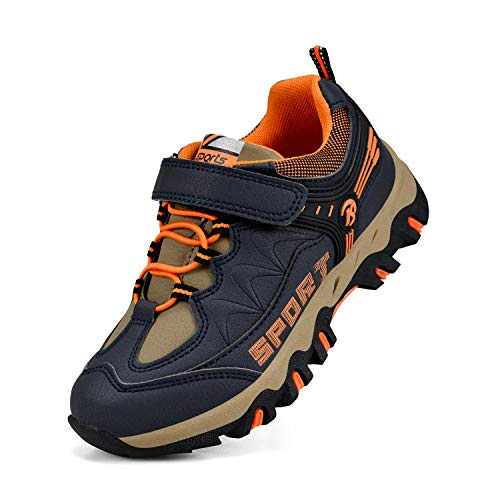 MARSVOVO Kids Running Shoes Waterproof Outdoor Hiking Running Tennis Shoes Sneakers Navy/Orange 1 M US by MARSVOVO (Image #1)
