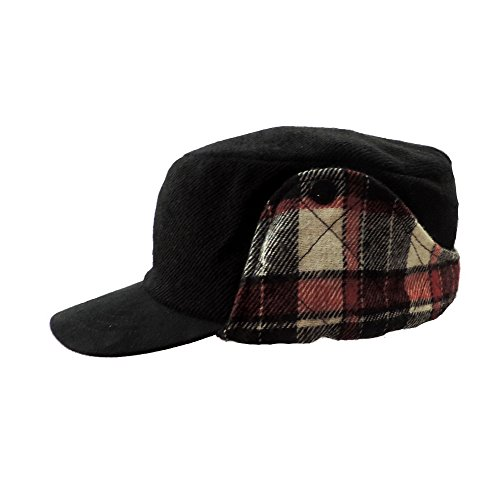 (Winter Lined Cadet Cap Black w/ Red Plaid Earflaps)