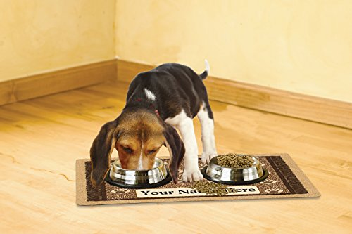 Drymate Personalized Pet Place Mat - Brown Paw Braid - Personalized Pet Food Mat (Medium - 12'' x 20'') by Drymate (Image #1)