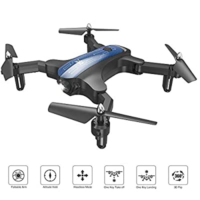 ScharkSpark Drone for Beginners, Portable RC Mini Quadcopter with Foldable Arms Indoor/Outdoor Play, 6-Axis Gyro One-Key Return/Headless Mode/Altitude Hold/3D Flips, Warrior II from ScharkSpark