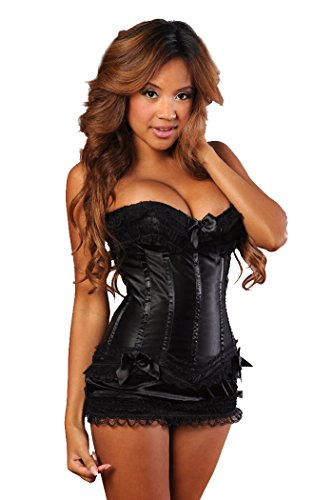 Velvet Kitten Sexy Frilly Corset and Skirt Lingerie Set (X-Large, Black)