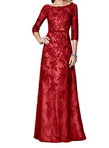Brautmutterkleider Pailletten Spitze Braut Dunkel Lang Festlichkleider Marie Blau Langarm Rot Abendkleider La SRT0n