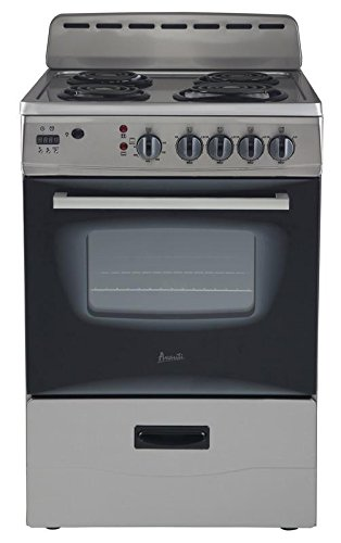 Avanti ER24P3SG 24'' Freestanding Electric Range with Deluxe See-Thru Glass Oven Door in Stainless Steel by Avanti
