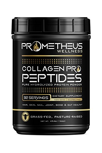 Prometheus Wellness Premium Collagen PRO Peptides Pure Hydrolyzed Protein Powder 16oz Grass-Fed Pasture-Raised Unflavored Easy to Mix Non-GMO Paleo Friendly Gluten Free GMP Certified Made in USA