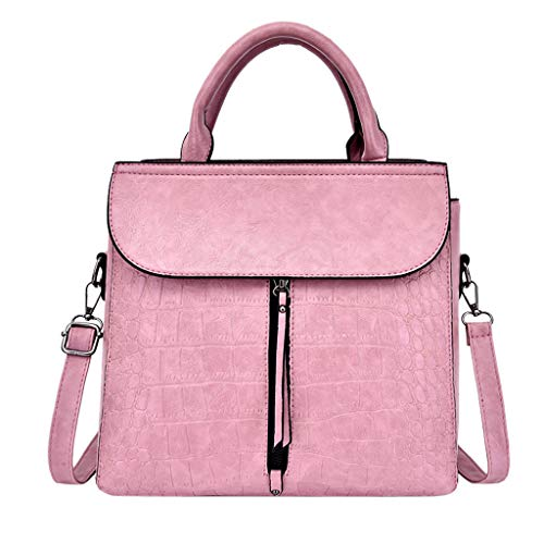 2DXuixsh Women's Embossed Bag Leather Top Handle Purses and Handbags Pattern Handbag Tote Purse New Wild Casual Retro Pink