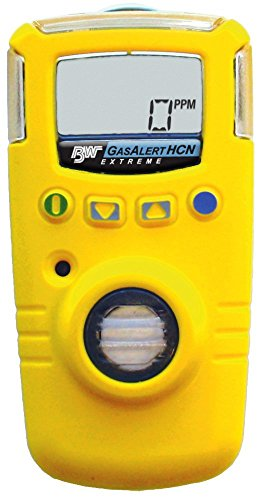 (BW Technologies GAXT-Z-DL GasAlert Extreme Hydrogen Cyanide (HCN) Single Gas Detector, 0-30.0 ppm Measuring Range, Yellow)