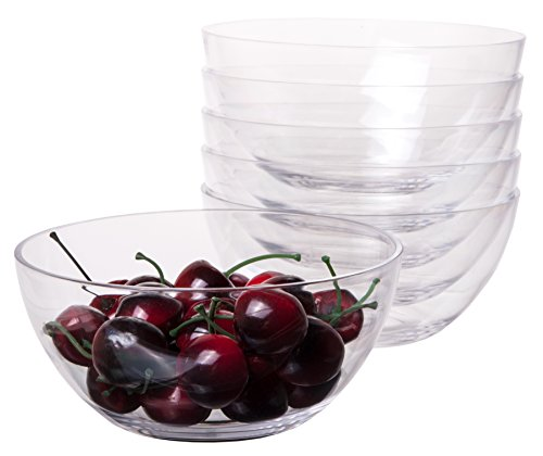 Crystal Flare Clear Acrylic Cereal Salad Soup Fruit Dessert Bowl, 5.6 Inches - Family pack of 6