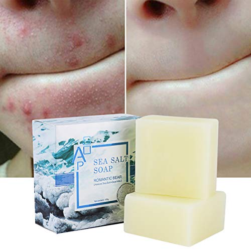 2PCS Sea Salt Soap Bars with Goat's Milk Natural,ROMANTIC BEAR Blackhead & Acne Scars Remover,Anti Cellulite Soap Deep Facial Cleaning For Natural Dry And Oily Skin