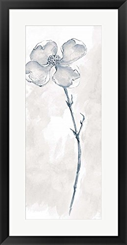 Solitary Dogwood III Gray by Chris Paschke Framed Art Print Wall Picture, Black Frame, 18 x 34 inches