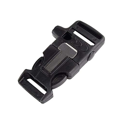 WOVTE 1.8 x 0.75 Inch Whistle Buckles with Flint Fire Starter and Striker for Paracord Bracelet Black Pack of 10