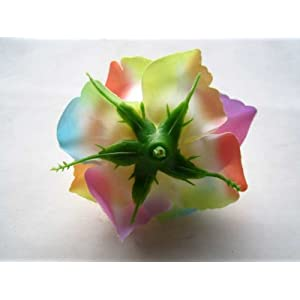 "(4) BIG Light Rainbow Silk Roses Flower Head - 3.75"" - Artificial Flowers Heads Fabric Floral Supplies Wholesale Lot for Wedding Flowers Accessories Make Bridal Hair Clips Headbands Dress 2"