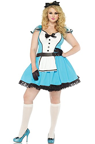 Leg Avenue Women's Plus-Size 2 Piece Storybook Alice Costume, Blue/White, 1X/2X ()