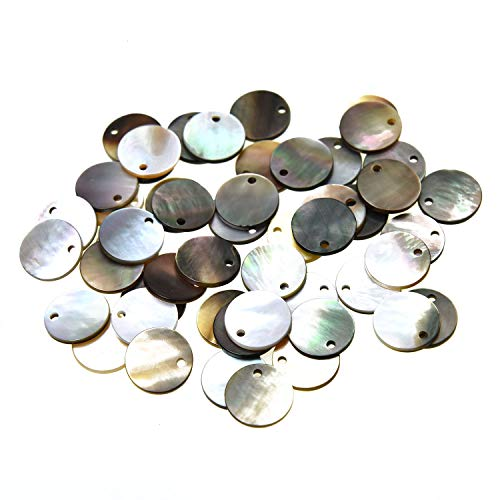 Monrocco 50 Pack Natural Flat Round Mussel Shell with Holes, 10mm Coin Beads Drop Charms for Jewelry Making Findings ()