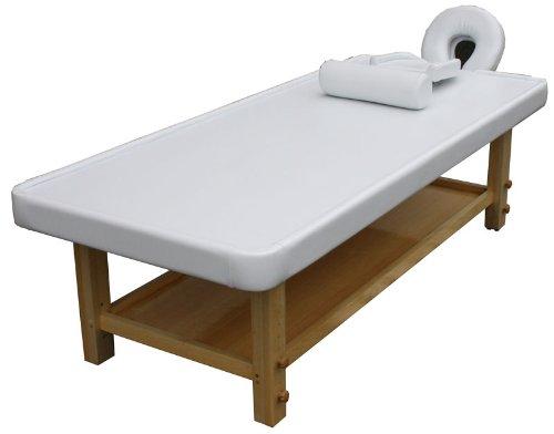 höhenverstellbare Ayurvedaliege Massageliege mit Holzgestell Farbe Holz: buche, Bezug weiß