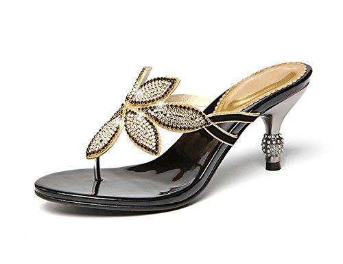 GTVERNH Mujer Zapatos/En Verano Sandalias Tacones De Mujer Zapatillas Delgado Taladro Herringbone Frío Remolque Tacones Altos Taladro Y Dedos De Los Pies. black