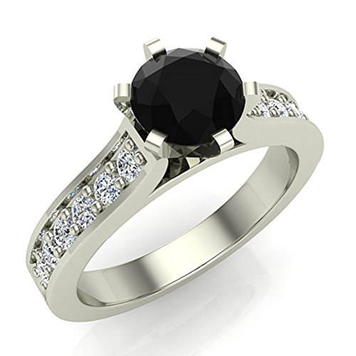 Black & White Accented Diamond Engagement Ring 1.10 Carat Total Weight 14K Solid Gold