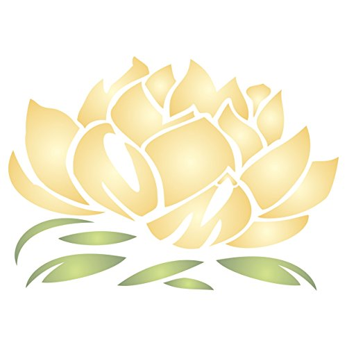 "Lotus Blossom Stencil - (size 4""w x 2.75""h) Reusable Wall Stencils for Painting - Best Quality Lotus Flower Stencil Ideas - Use on Walls, Floors, Fabrics, Glass, Wood, Terracotta, and More… for $<!--$8.79-->"