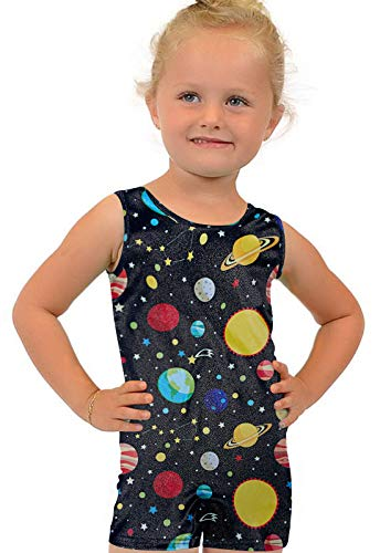 Gymnastics Unitard Outfits for Little Young Girls 5t 6t Stretchy Rhythmic Leotards Solar System Milky Way Space 80s Ballet Dancewear Clothes Biketards Underwear One Piece Romper with Shorts