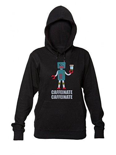 Caffeinate - Coffee Lover Robot Felpa con Cappuccio da Donna Women's Hooded Sweatshirt