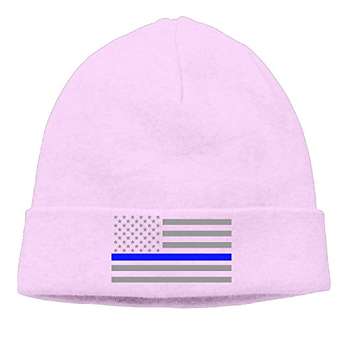 [Caromn Thin Blue Line American Flag Beanies Skull Ski Cap Hat Pink] (Blue Ghost Pill Costume)