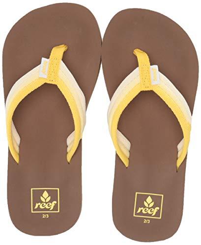 Reef Girls' Kids AHI Beach Sandal, sunshine, 6-7 -