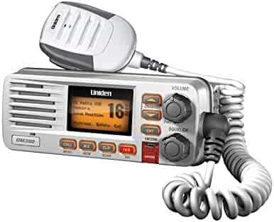 Uniden UM380 25 Watt Fixed Mount Marine VHF Radio, Class D, DSC, Waterproof Level IPX4/JIS4, S,A,M,E, Emergency/ NOAA Weather Alert, USA/International and Canadian Marine Channels - Color White