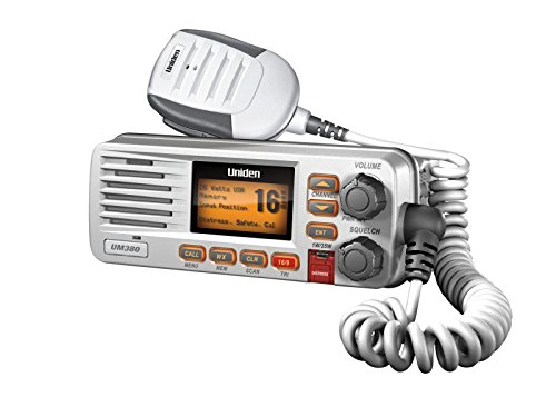 Uniden UM380 25 Watt Fixed Mount Marine VHF Radio, Class D, DSC, Waterproof Level IPX4/JIS4. S.A.M.E. Emergency/NOAA Weather Alert. USA/International and Canadian Marine Channels - Color White by Uniden
