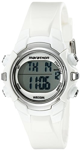 White Sports Watch (Marathon by Timex Unisex T5K806 Digital Mid-Size White Resin Strap Watch)