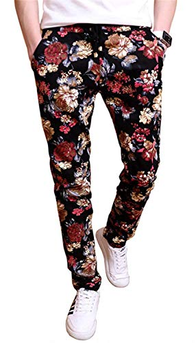 EMAOR Floral Printed Casual Pants Slim Fit Flower Trousers for Men, Multicoloured, US 36 = Tag 5XL