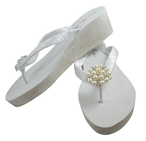 8bb4f69b9 Amazon.com  Glitter Bridal Flip Flops with Pearl   Rhinestone Embellishment  White Wedge Platform Heel Wedding Shoes  Handmade