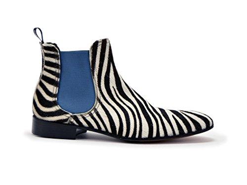 Sconosciuto Roberto - Zebra In Pelle Pelosa Da Uomo In Chelsea Boot Il Tuo Su Misura Di Lusso Zebra In Pelle Pelosa Da Uomo In Chelsea Boot Shoes, 100% Handmade In Italy