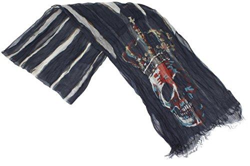 Stripe Crinkle Scarf (John Varvatos Men's Garnet/Black Skull Crown Stripe Print Crinkle Scarf)