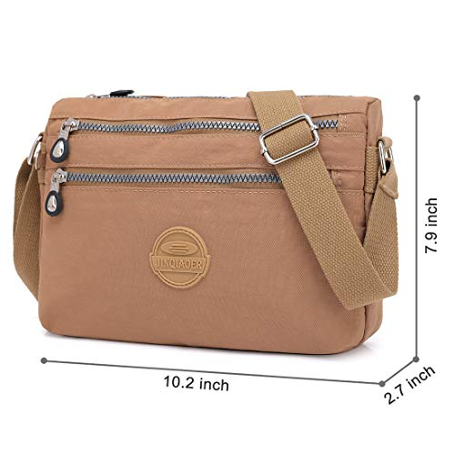by bag Shoulder Nylon Multi Pocket for Bags Crossbody Hobo Women Bag Camel STUOYE Purse Travel 07qRHCwxw