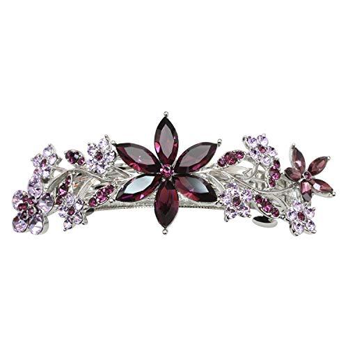 Faship Gorgeous Blue Rhinestone Crystal Floral Hair Barrette Clip - Purple