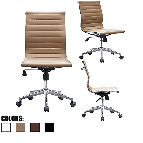 2xhome Modern Mid Back Office Chair Armless Ribbed PU Leather Swivel Tilt Adjustable Chair Designer Boss Executive Management Manager Office Conference Room Work Task Computer (Tan)