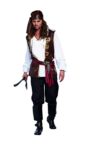 Dreamgirl Men's Seaworthy Pillaging Pirate Captain Costume, Multi, ()