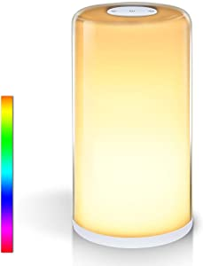SOLLED Table Lamp, Touch Sensor Bedside Lamp with Dimmable Warm White Light & Color Changing RGB for Living Rooms and Bedrooms