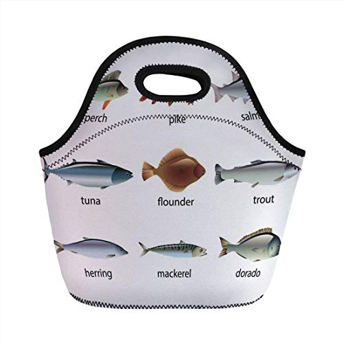 Portable Bento Lunch Bag,Ocean Animal Decor,Group of Fish with Perch Tuna Pike Flounder Mackerel Trout Aquatic Artwork,Multi,for Kids Adult Thermal Insulated Tote Bags -