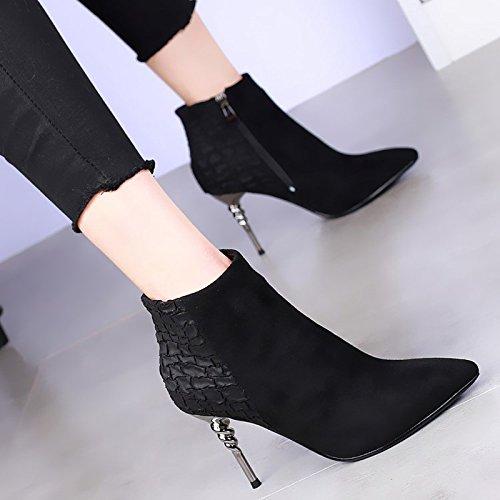 khskx-high tacones botas están bien con la hembra y Sexy Serpiente Negro Suede Botas Martin all-match marea negro