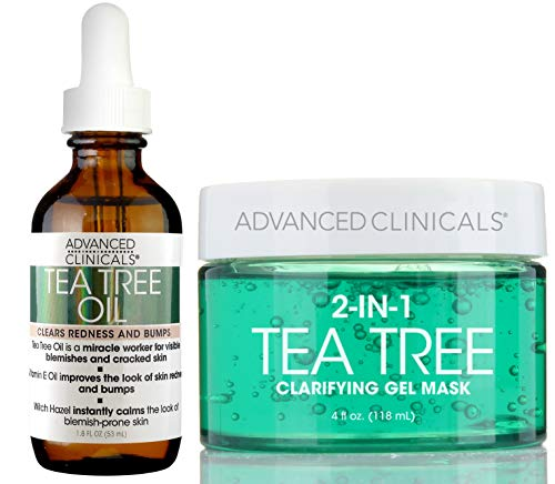 Oil Face Mask - Advanced Clinicals Tea Tree oil Set. Tea Tree Face oil and Tea Tree Oil Mask for pores, dry skin, redness for smooth, clear skin. 1.8oz face oil. 4oz mask