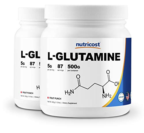 Nutricost L-Glutamine 500 Grams Fruit Punch 2 Bottles