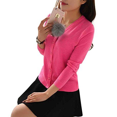 Knitwear la Girl Lady mujeres la su¨¦teres Knit de manga hebilla en delgados larga caramelo Las Rosa s¨®lido de color perla Mengonee rebeca de la de de la capa Claro cuello V de PaZ6wxqRn