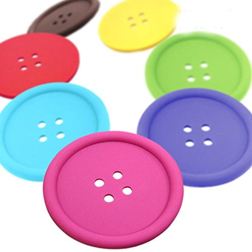Cup Cushion Holder Cute Colorful Silicone Button Coaster Drink Placemat Mat ,5/group Random Color