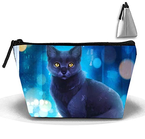 Cosmetic Bags Travel Portable Makeup Pouch British Short Hair Cat Clutch Bag with Zipper by Huazh