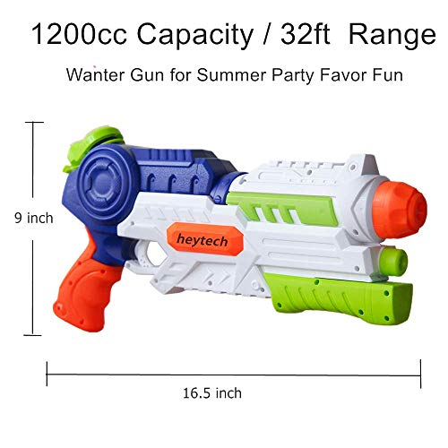 heytech 2 Pack Super Water Gun Water Blaster 1200CC High Capacity Water Soaker Blaster Squirt Toy Swimming Pool Beach Sand Water Fighting Toy